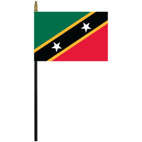"""st. kitts-nevis 4"""" x 6"""" staff mounted rayon flag"""
