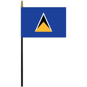 "st. lucia 4"" x 6"" staff mounted rayon flag"