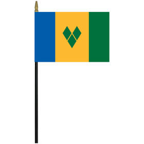 "st. vincent 4"" x 6"" staff mounted rayon flag"