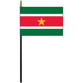 """suriname 4"""" x 6"""" staff mounted rayon flag"""