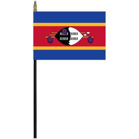 "swaziland 4"" x 6"" staff mounted rayon flag"