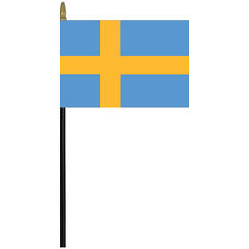 """sweden 4"""" x 6"""" staff mounted rayon flag"""