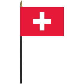 """switzerland 4"""" x 6"""" staff mounted rayon flag"""