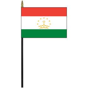 """tajikistan 4"""" x 6"""" staff mounted rayon flag"""