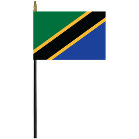 "tanzania 4"" x 6"" staff mounted rayon flag"