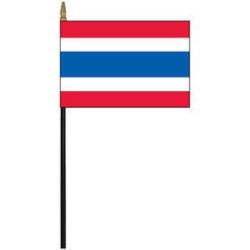 "thailand 4"" x 6"" staff mounted rayon flag"