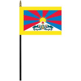 """tibet 4"""" x 6"""" staff mounted rayon flag"""