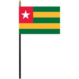 """togo 4"""" x 6"""" staff mounted rayon flag"""