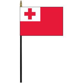 """tonga 4"""" x 6"""" staff mounted rayon flag"""