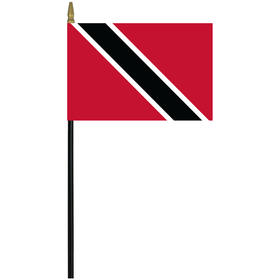 "trinidad & tobago 4"" x 6"" staff mounted rayon flag"