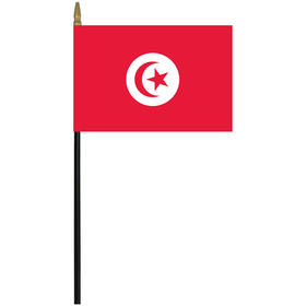 "tunisia 4"" x 6"" staff mounted rayon flag"