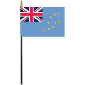 "tuvalu 4"" x 6"" staff mounted rayon flag"