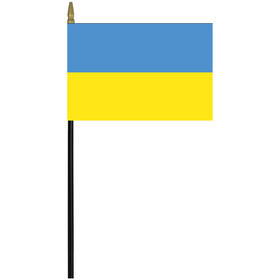 "ukraine 4"" x 6"" staff mounted rayon flag"