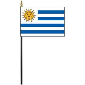 "uruguay 4"" x 6"" staff mounted rayon flag"