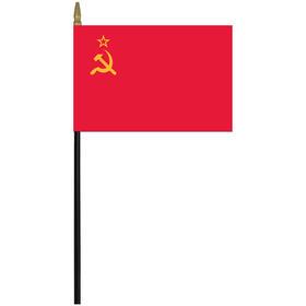 "ussr 4"" x 6"" staff mounted rayon flag"