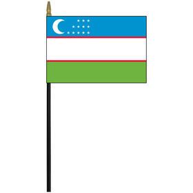 """uzbekistan 4"""" x 6"""" staff mounted rayon flag"""