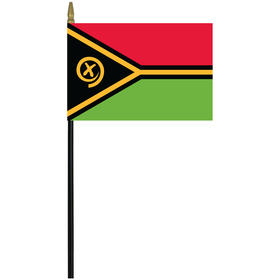 "vanuatu 4"" x 6"" staff mounted rayon flag"