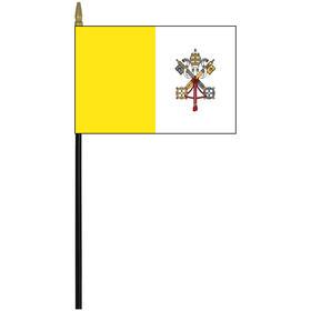 "vatican city 4"" x 6"" staff mounted rayon flag"