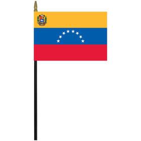 "venezuela w/ seal 4"" x 6"" staff mounted rayon flag"
