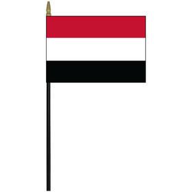 """yemen 4"""" x 6"""" staff mounted rayon flag"""