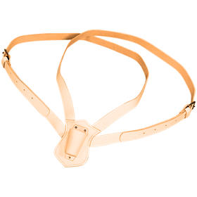 double strap leather carrying belt  tan