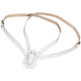 double strap leather carrying belt  white