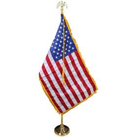 5'-9.5' gold adjustable aluminum pole w/ 4' x 6' nylon flag