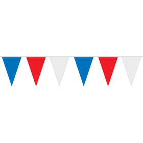 30ft 4 mil polyethylene red  white  and blue pennant string