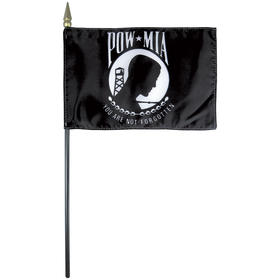 "4'' x 6"" pow/mia staff mounted rayon flag"