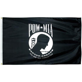 "12'' x 18"" pow/mia outdoor nylon flag w/ heading & grommets"