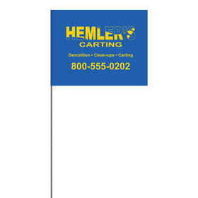 """1-Color 4"""" x 5"""" Custom High Gloss Poly Marking Flag with 30"""" Wire Staff"""