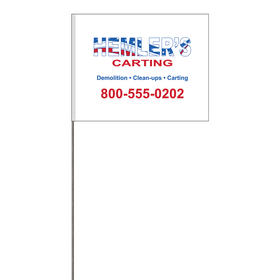 """2-Color 4"""" x 5"""" Custom White High Gloss Poly Marking with 30"""" Wire Staff"""