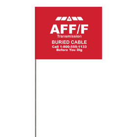 "1-Color 4"" x 5"" Custom High Gloss Poly Marking Flag with 21"" Wire Staff"