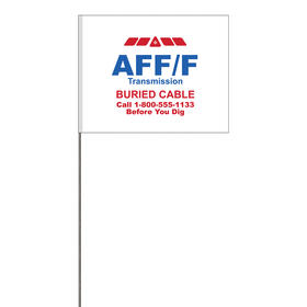 "2-Color 4"" x 5"" Custom White High Gloss Poly Marking Flag with 21"" Wire Staff"