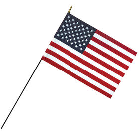 "16"" x 24"" deluxe polyester u.s. stick flag on a 3/8"" dowel"