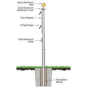 15' budget pole w/ external halyard - satin finish