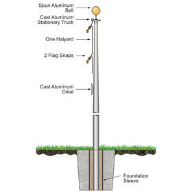 15' budget pole w/ external halyard - bronze finish