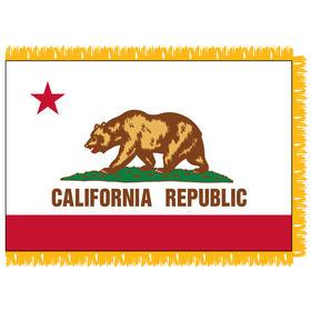 California 3' x 5' Indoor Nylon Flag w/ Pole Sleeve & Fringe