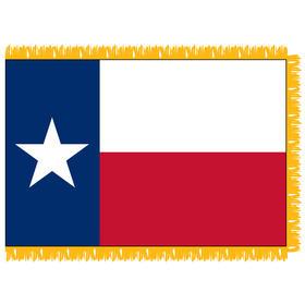 Texas 3' x 5' Indoor Nylon Flag w/ Pole Sleeve & Fringe