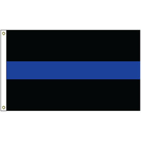 3' x 5' thin blue line nylon flag w/ heading & grommets