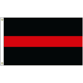 3' x 5' thin red line nylon flag w/ heading & grommets