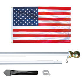 8' economy silver aluminum display pole w/ 3' x 5' u.s. flag
