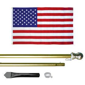 8' economy gold aluminum display pole w/ 3' x 5' u.s. flag