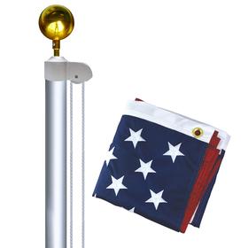 20' aluminum sectional flagpole with flag