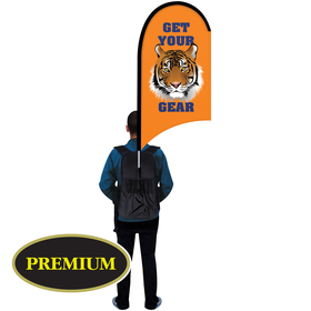 single reverse half drop w/ scalloped bottom backpack flag