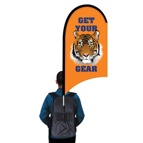 deluxe single reverse half drop w/ scalloped bottom backpack flag kit