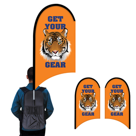 deluxe double sided half drop w/ scalloped bottom backpack flag kit