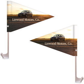 "7.5"" x 10.5"" Double Sided Pennant Style Custom Car Flag"