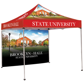 10' square tent with one full double sided wall