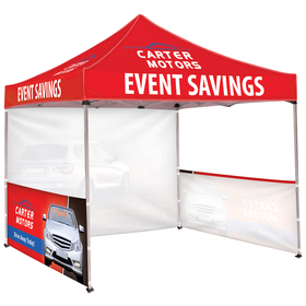10' square tent w/ one full wall & two half walls